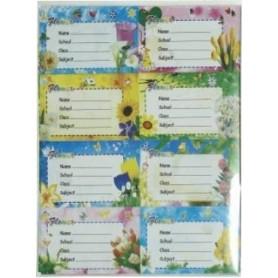Etichete scolare model flori