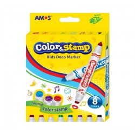 Carioca AMOS Color&Stamp 2 capete 8 culori/set