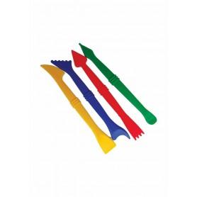 Accesorii creatie COLORARTE unelte plastic pentru modelaj plastelina 4 bucati/set mic Didactic
