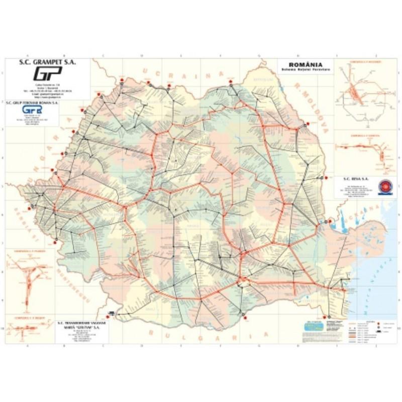 Harta Romania Administrativ Rutiera 100x140 Cm Amco Plastifiat