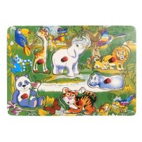 Puzzle lemn cu capse XX005 animale de padure