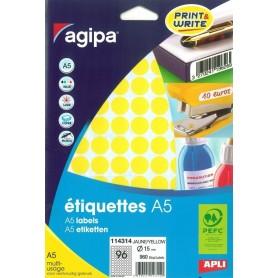 Etichete rotunde 96/A5 d. 15mm Agipa 114314 galben