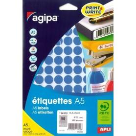 Etichete rotunde 96/A5 d. 15mm Agipa 114312 albastru