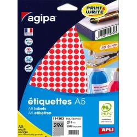 Etichete rotunde 294/A5 8mm Agipa 114303 rosu
