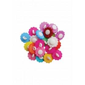Accesorii creatie COLORARTE plastic nasturi floarea soarelui 20mm diverse culori set 20 bucati/set