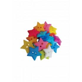 Accesorii creatie COLORARTE plastic nasturi stelute 20mm diverse culori 20 bucati/set