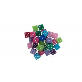 Accesorii creatie COLORARTE plastic zaruri diverse culori 30 bucati/set