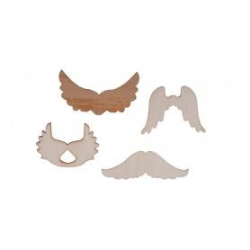 Accesorii creatie COLORARTE lemn: aripi mustati coarne 20 bucati/set