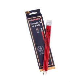 Creion grafit HB COLORARTE guma