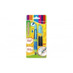 Stilou KEYROAD KR971233+2 rezerve/blister plastic iridium grip clips diverse culori