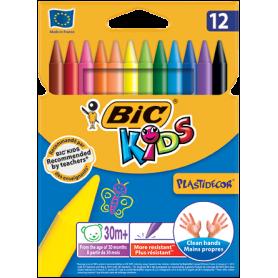 Creioane colorate cerate 12 culori BIC KIDS PLASTIDECOR